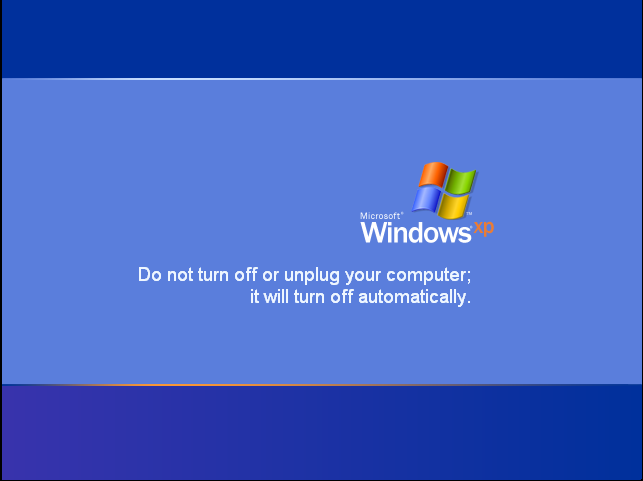 """""""Do not turn off or unplug your computer; it will turn off automatically."""""""